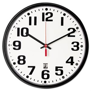 "6645015573148 SKILCRAFT Self Set Wall Clock with Second Hand, 12"", Black"