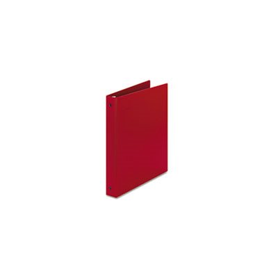 "BINDER, ECONOMY, NON-VIEW WITH ROUND RINGS, 11"" x 8.5"" x 1"" CAPACITY, RED"