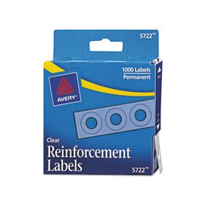 "HOLE REINFORCEMENTS, DISPENSER PACK, .25"" dia, CLEAR, 1000 / PK"