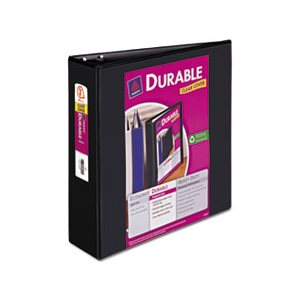 "BINDER, Durable View, w /  Slant Rings, 11"" x 8.5"", 3"" Capacity, Black"