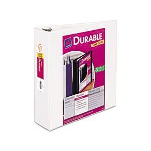 "BINDER, Durable View, w /  Slant Rings, 11"" x 8.5"", 3"" Capacity, White"