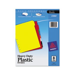 DIVIDERS, Write-On, Plastic Tab, w /  White Labels, 8-Tab, Letter
