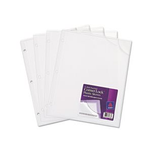 "PLASTIC SLEEVES, Three-Hole Punched, Corner Lock, 11.75"" x 9.5"", Clear, 4 / Pk"