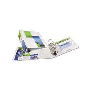 "BINDER, Heavy-Duty, View Binder, w /  Locking 1-Touch EZD Rings, 4"" Capacity, White"