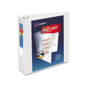 "BINDER, Heavy-Duty, View, w /  Locking 1-Touch EZD Rings, 3"" Capacity, White"