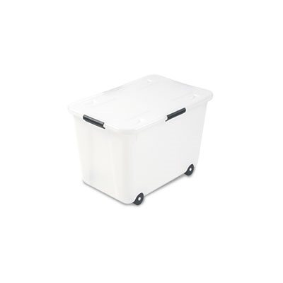 STORAGE BOX, Rolling, Letter / Legal, 15-Gallon Size, Clear