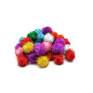 GLITTER POM PONS BAG OF 40 1