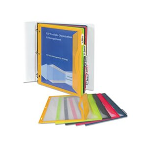 "POCKET, BINDER, WITH WRITE-ON INDEX TABS, 9.6875"" x 11.1875"", ASSORTED, 5 / SET"