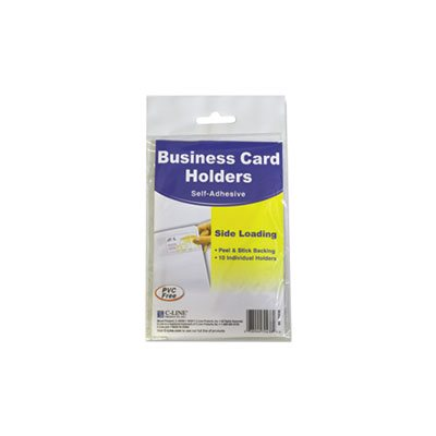 Self-Adhesive Business Card Holders, Side Load, 3 1 / 2 x 2, Clear, 10 / Pack