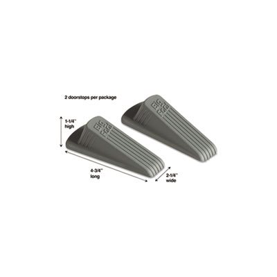 "DOORSTOP, Big Foot, No Slip, Rubber Wedge, 2.25""w x 4.75""d x 1.25""h, Gray, 2 / Pack"