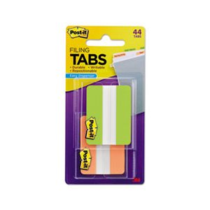 "File Tabs, POST-IT, 2"" x 1.5"", Solid, Green / Orange, 44 / Pack"