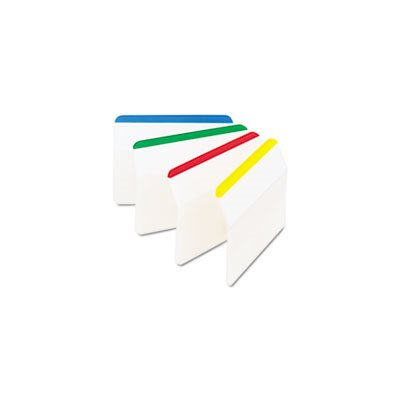 Angled Tabs, 2 x 1 1 / 2, Striped, Assorted Primary Colors, 24 / Pack