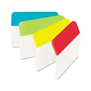 "FILE TABS, POST-IT, Angled, 2"" x 1.5"", Solid, ASSORTED BRIGHT COLORS, 24 / Pack"