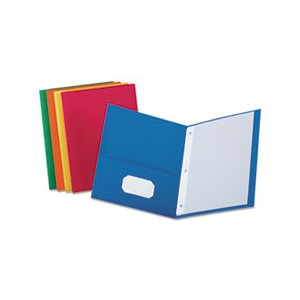 "Twin-Pocket Folders with 3 Fasteners, Letter, 1 / 2"" Capacity, Assorted, 25 / Box"