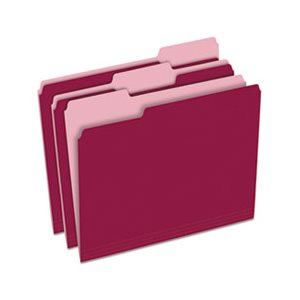 Colored File Folders, 1 / 3 Cut Top Tab, Letter, Burgundy / Light Burgundy, 100 / Box