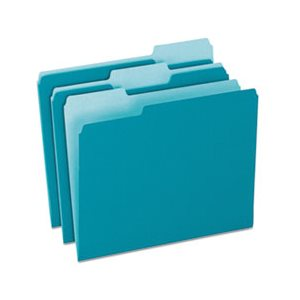 Colored File Folders, 1 / 3 Cut Top Tab, Letter, Teal / Light Teal, 100 / Box