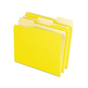 Colored File Folders, 1 / 3 Cut Top Tab, Letter, Yellow, Light Yellow, 100 / Box
