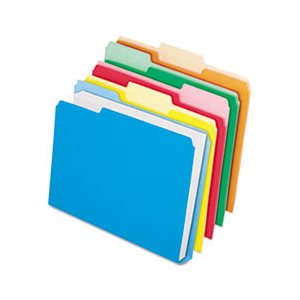 Double Stuff File Folders, 1 / 3 Cut, Letter, Assorted, 50 / Pack