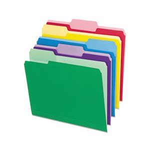 File Folders with Erasable Tabs, 1 / 3 Cut Top Tab, Letter, Assorted, 30 / Pack