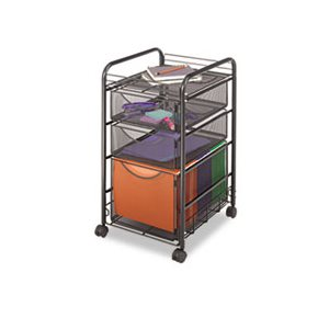 Onyx Mesh Mobile File With Two Supply Drawers, 15-1 / 4w x 17d x 27h, Black