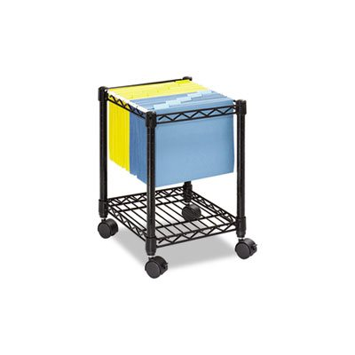 Compact Mobile Wire File Cart, One-Shelf, 15-1 / 2w x 14d x 19-3 / 4h, Black