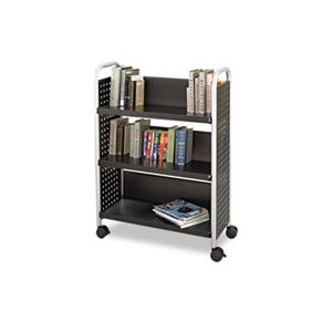 Scoot Book Cart, Three-Shelf, 33w x 14-1 / 4d x 44-1 / 4h, Black