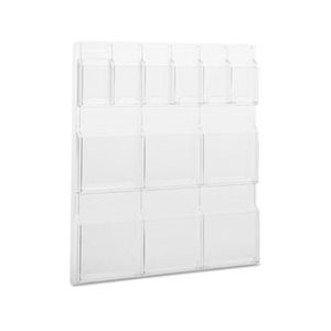 Reveal Clear Literature Displays, 12 Compartments, 30w x 2d x 34-3 / 4h, Clear