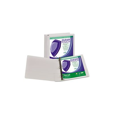 "Clean Touch Locking Round Ring View Binder, Antimicrobial, 1 1 / 2"" Cap, White"