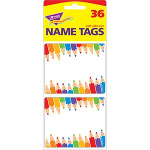 NAME TAGS, COLORFUL PENCILS