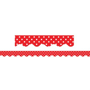 BORDER TRIM, RED MINI POLKA DOTS