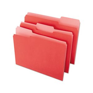 File Folders, 1 / 3 Cut One-Ply Top Tab, Letter, Red / Light Red, 100 / Box