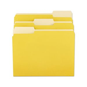File Folders, 1 / 3 Cut One-Ply Top Tab, Letter, Yellow / Light Yellow, 100 / Box