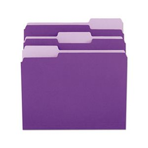 File Folders, 1 / 3 Cut One-Ply Top Tab, Letter, Violet / Light Violet, 100 / Box