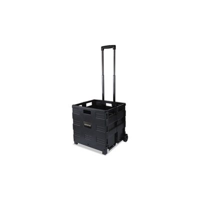 Collapsible Mobile Storage Crate, 18 1 / 4 x 15 x 18 1 / 4 to 39 3 / 8, Black