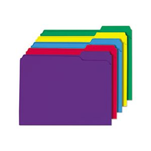 File Folders, 1 / 3 Cut Double-Ply Top Tab, Letter, Assorted Colors, 100 / Box